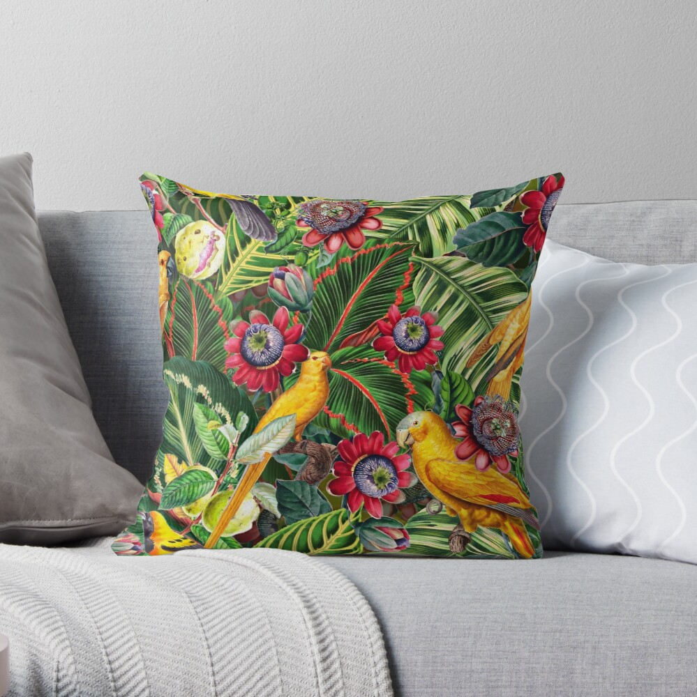 Vintage Tropical Bird Jungle Garden  Throw Pillow
