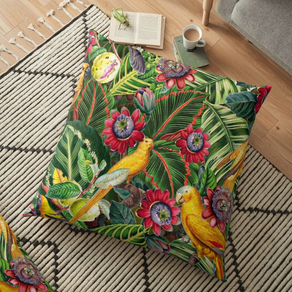 Vintage Tropical Bird Jungle Garden  Floor Pillow
