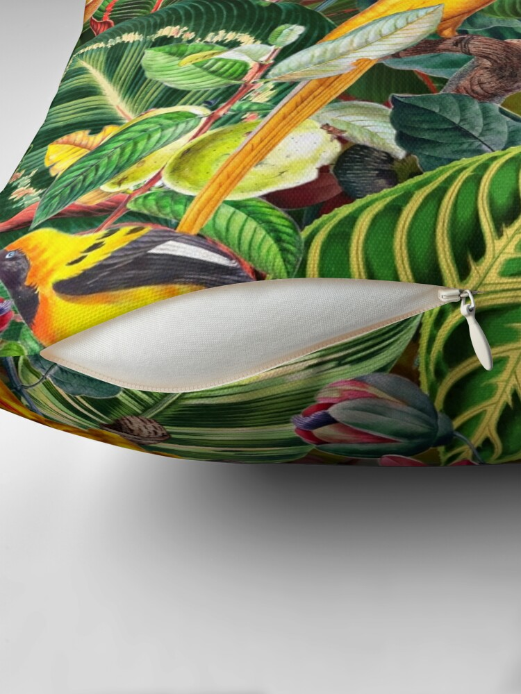 Alternate view of Vintage Tropical Bird Jungle Garden  Floor Pillow