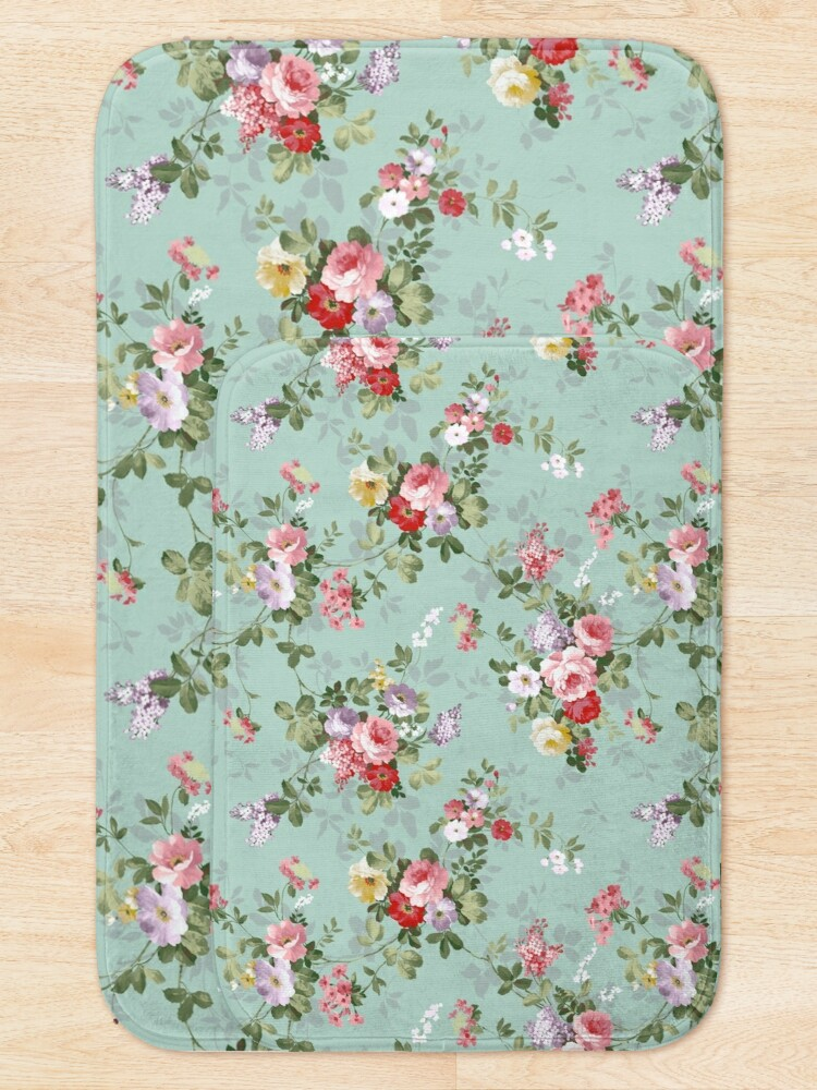 Alternate view of Elegant vintage pink roses floral pattern  Bath Mat