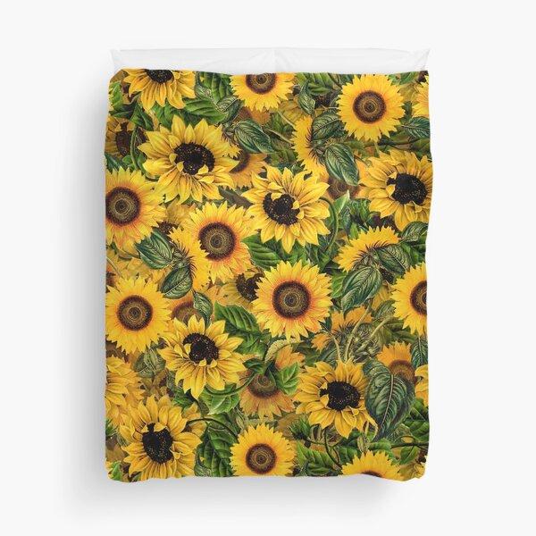 Vintage Sunflowers Pattern Duvet Cover