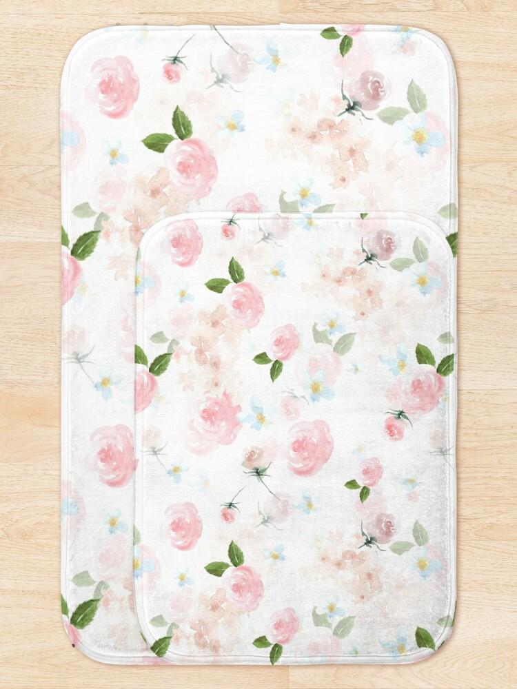Alternate view of Blush Watercolor Florals Bath Mat