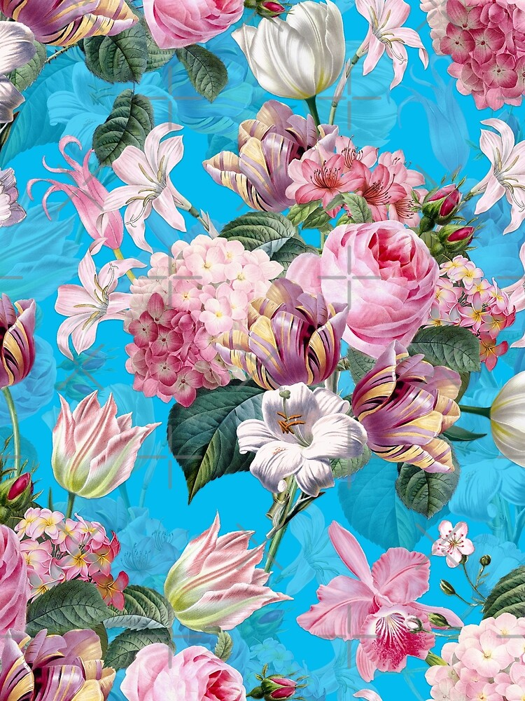 Roses Orchids and Tulips on Teal  by UtArt
