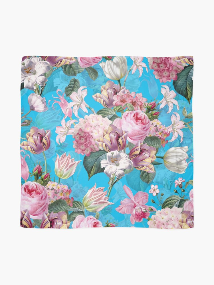 Alternate view of Roses Orchids and Tulips on Teal  Scarf
