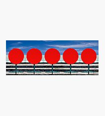 Five Red Cafe Tables Panorama Photographic Print