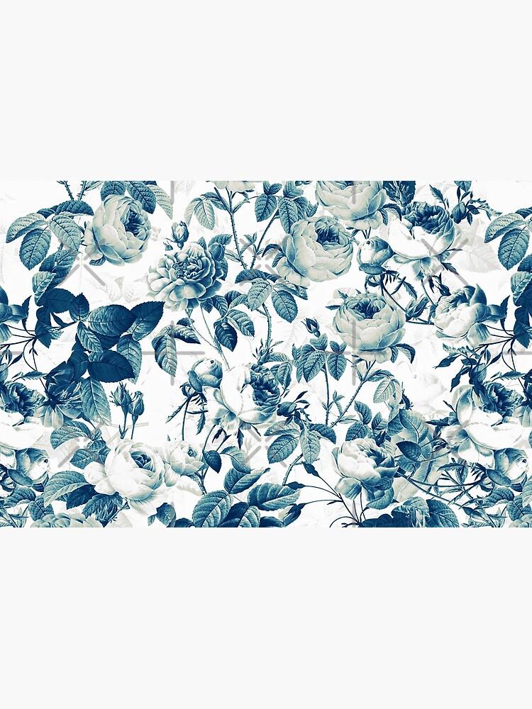 Dutch Blue Roses Vintage Pattern on White  by UtArt