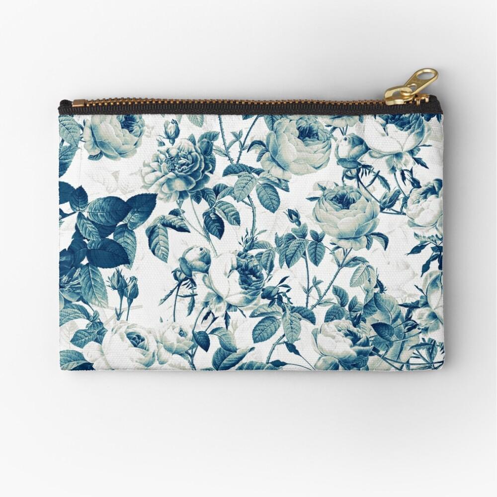 Dutch Blue Roses Vintage Pattern on White  Zipper Pouch