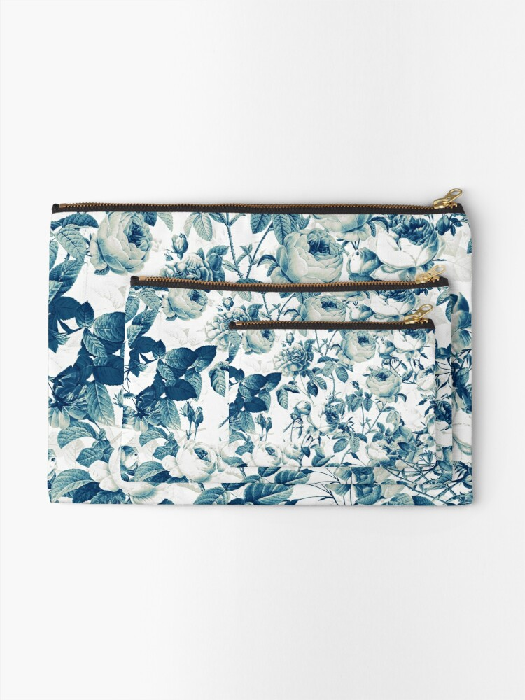 Alternate view of Dutch Blue Roses Vintage Pattern on White  Zipper Pouch