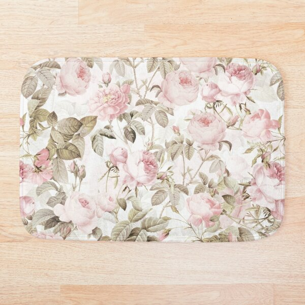 Sepia Old Vintage Roses on Pink Pattern Bath Mat