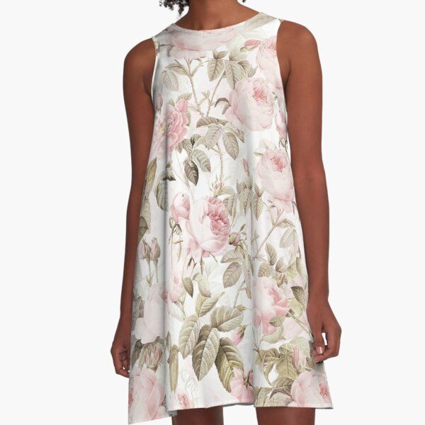 Sepia Old Vintage Roses on Pink Pattern A-Line Dress