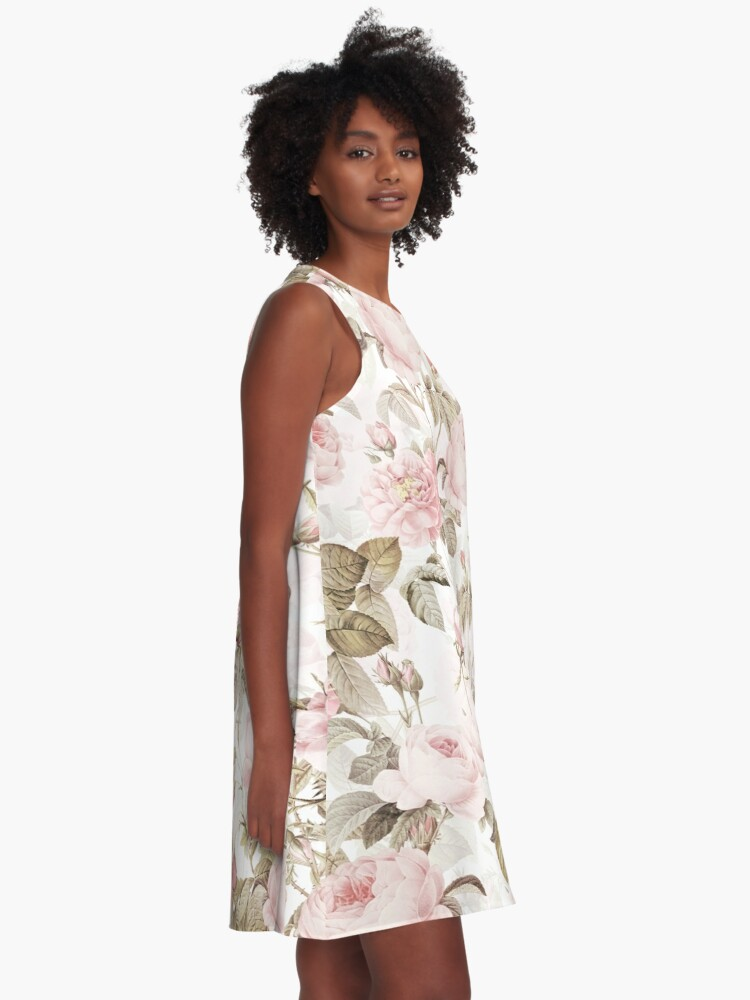 Alternate view of Sepia Old Vintage Roses on Pink Pattern A-Line Dress