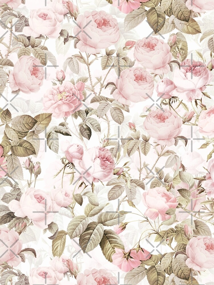 Sepia Old Vintage Roses on Pink Pattern by UtArt
