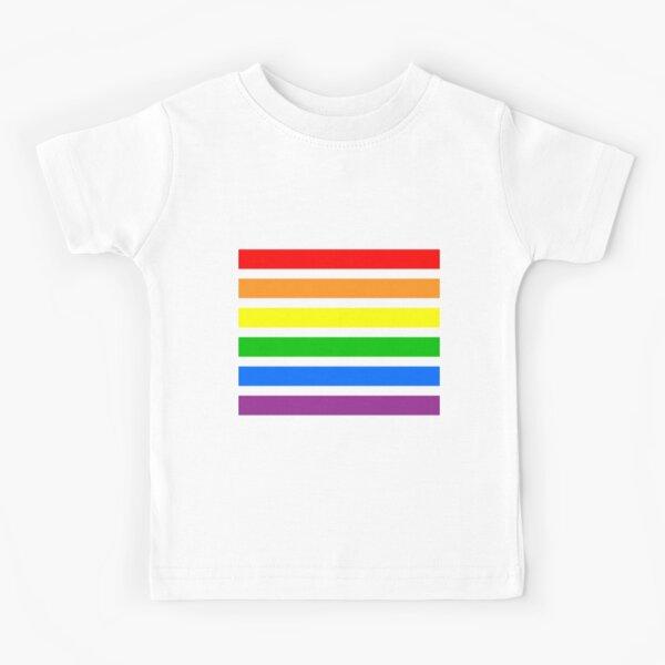 Rainbow stripes (thick on black) Kids T-Shirt