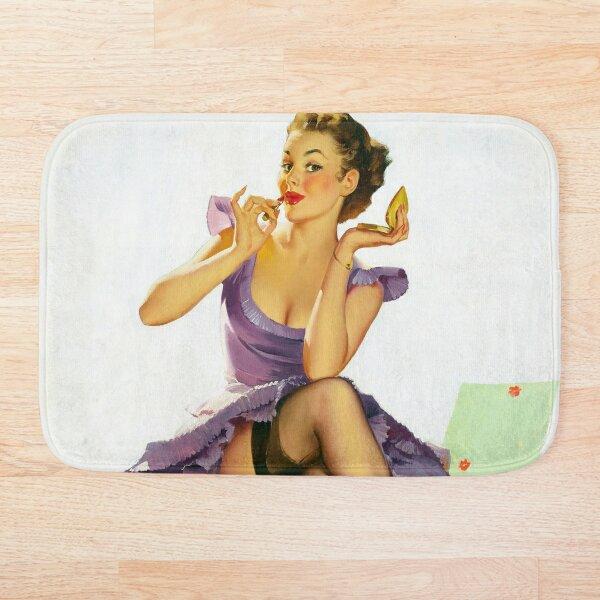 Vintage Pin Up Girl Poster Bath Mat