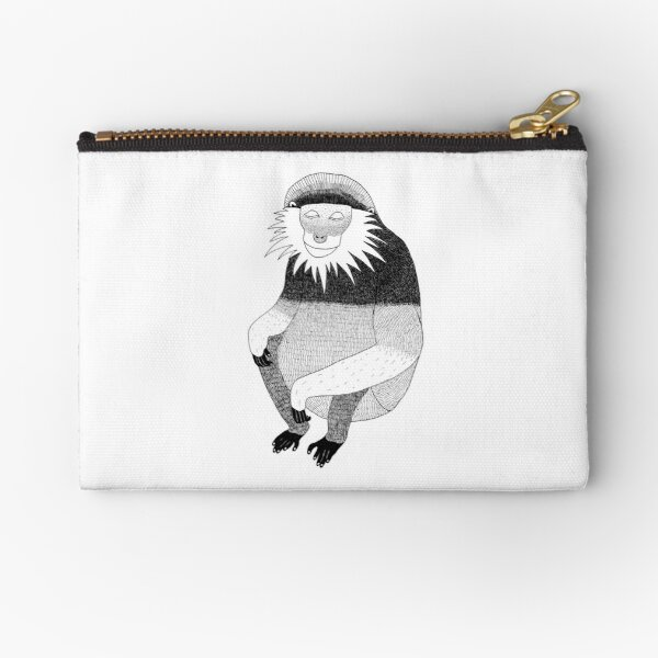 Red-Shanked Douc (ink illustrations of weird animals that are real) Zipper Pouch