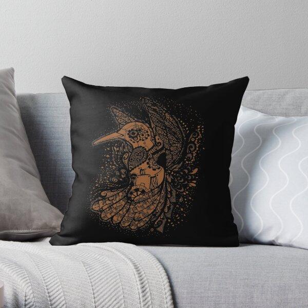 Steampunk Hummingbird Throw Pillow