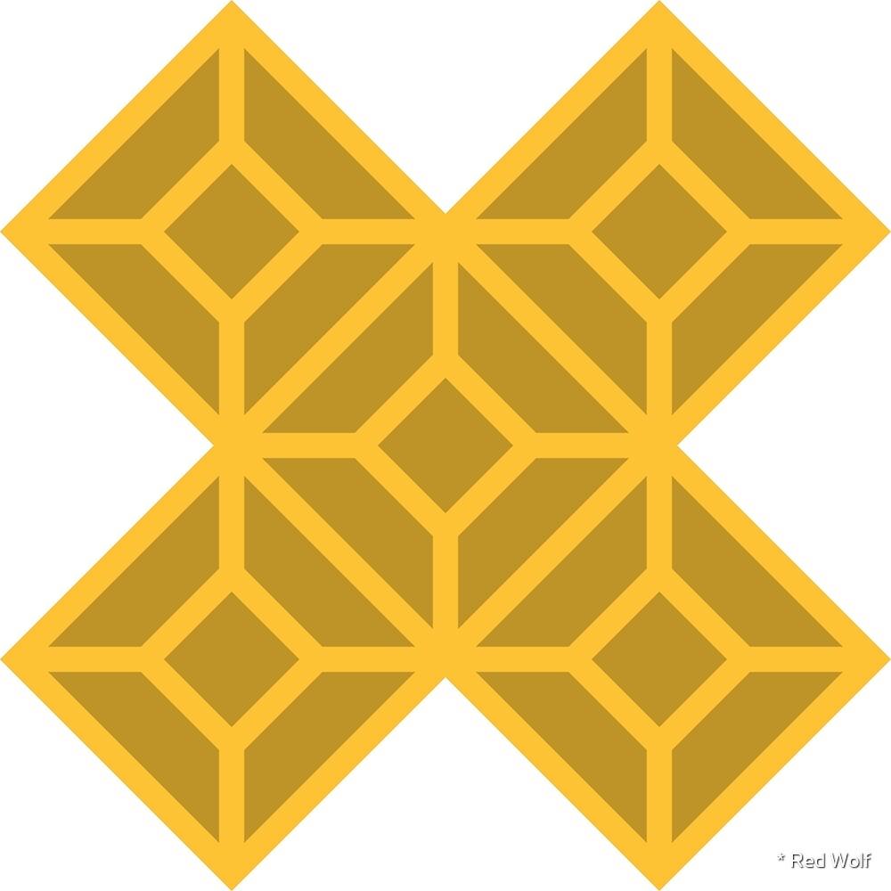 Geometric Pattern: Diamond Tile: Dark Yellow by * Red Wolf