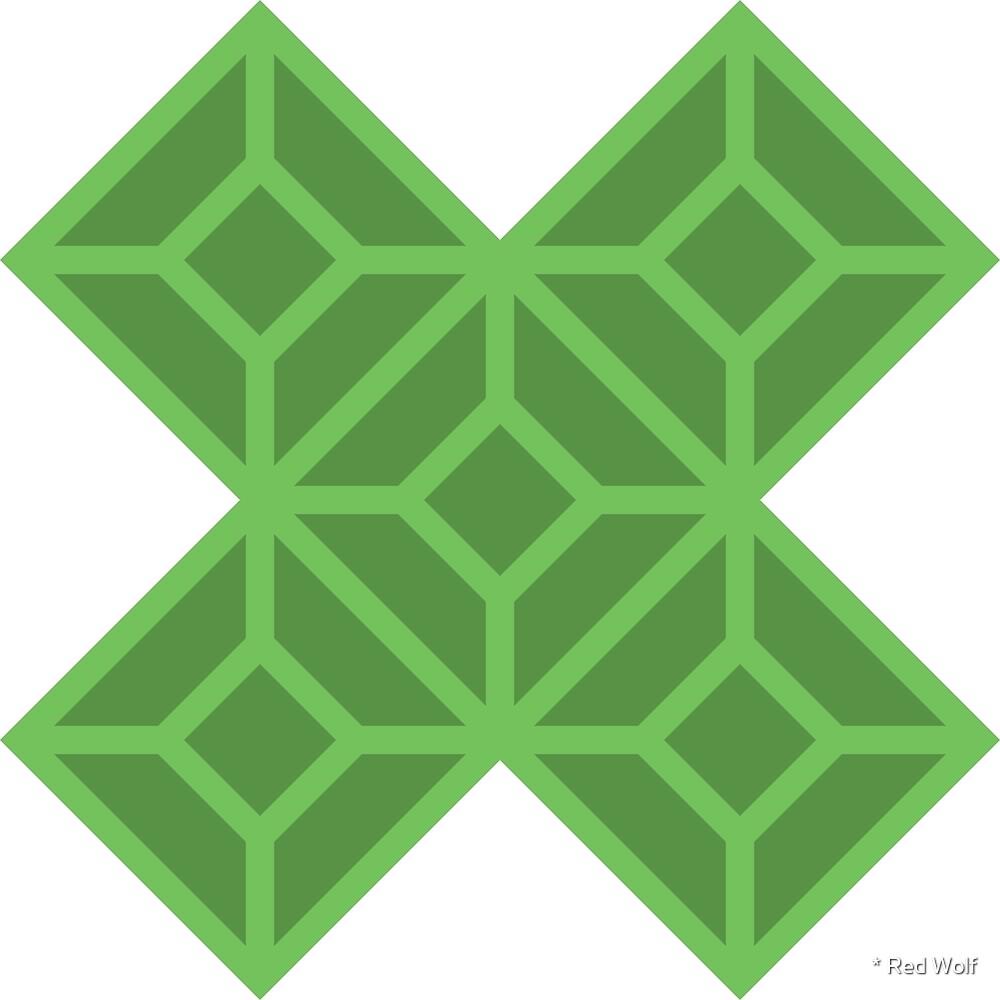Geometric Pattern: Diamond Tile: Dark Green by * Red Wolf