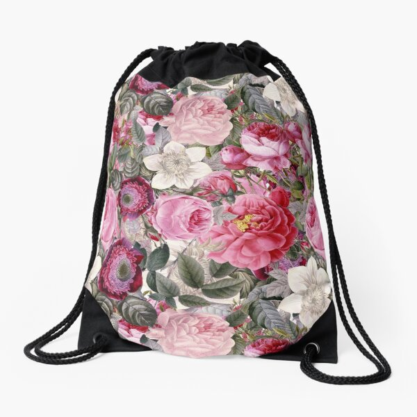 Vintage Pink Floral Pattern  Drawstring Bag