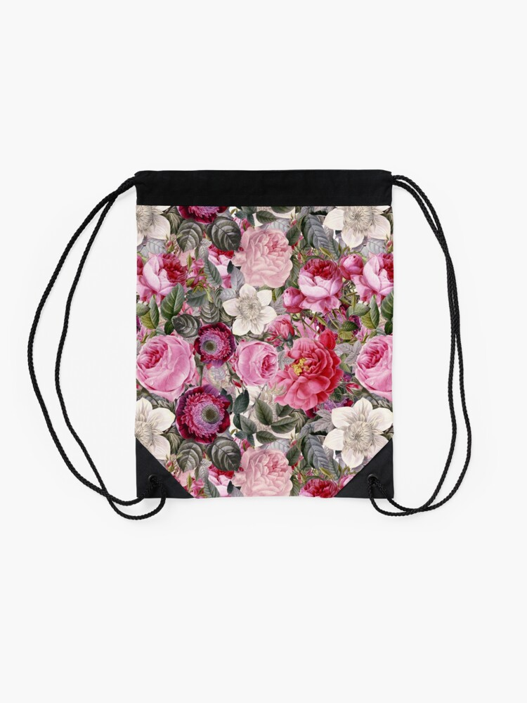 Alternate view of Vintage Pink Floral Pattern  Drawstring Bag