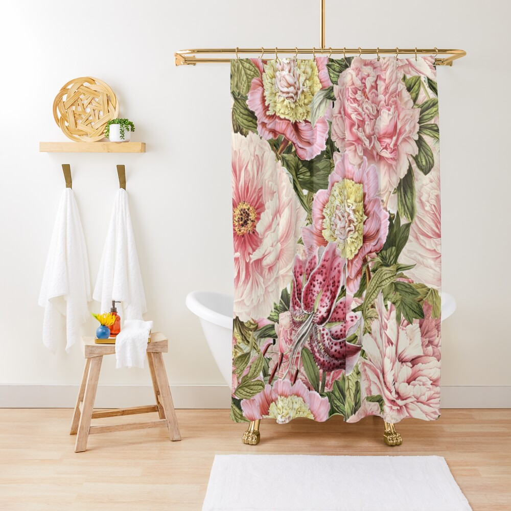 Vintage Roses and Lily Pattern Shower Curtain
