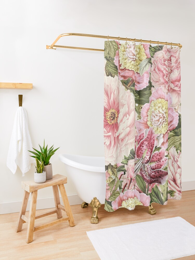 Alternate view of Vintage Roses and Lily Pattern Shower Curtain