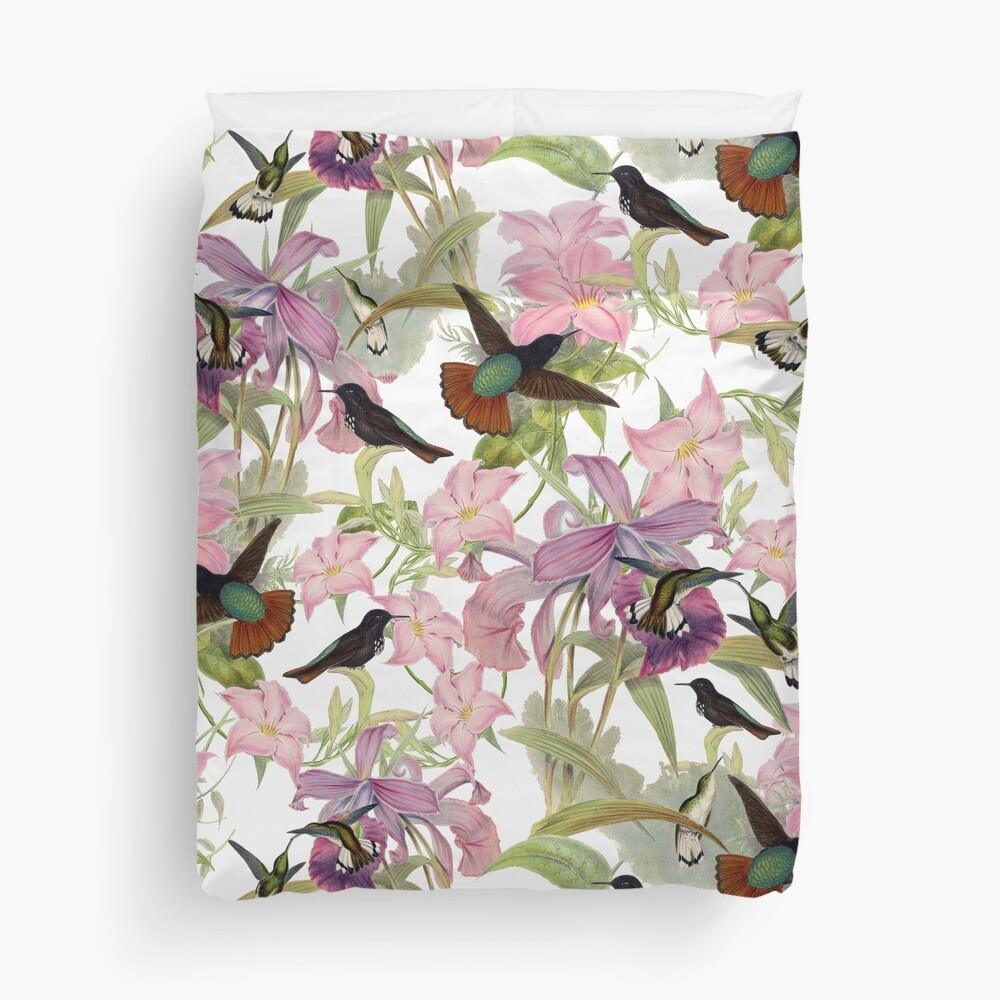 Hummingbird and Orchids  Duvet Cover