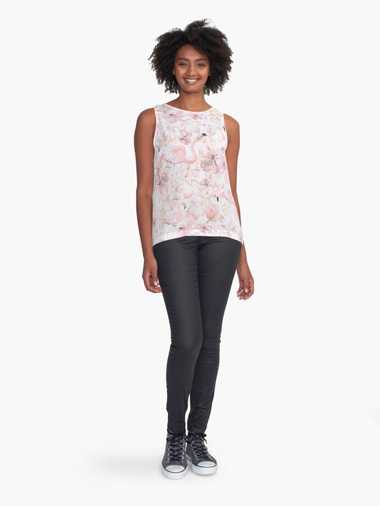 Alternate view of Pink Tropical Flamingo Dance Sleeveless Top