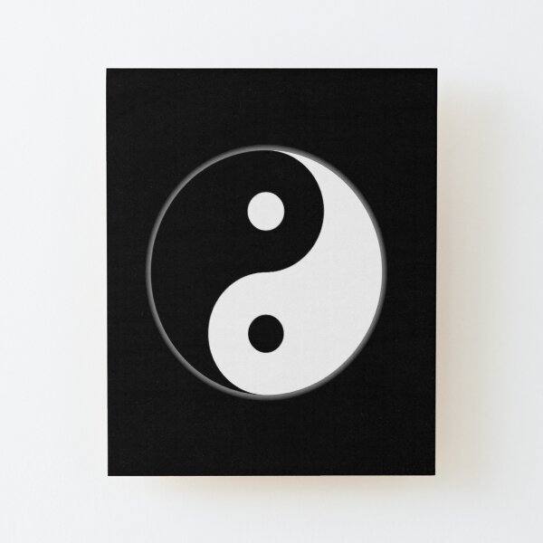Yin Yang. Invertido, chino, China, símbolo, Tai Chi, Arte Marcial, MMA, en NEGRO. Lámina montada de madera