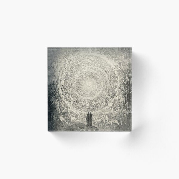 ANGELS AND DEMONS. Dante, Heaven, Heavenly, The Divine Comedy, Gustave Dore, Highest, Heaven. Acrylic Block