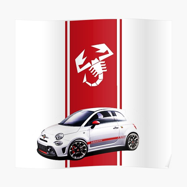 POSTER - CHOOSE REG FIAT 500 ABARTH  - PERSONALISE Car A4, A3, A2