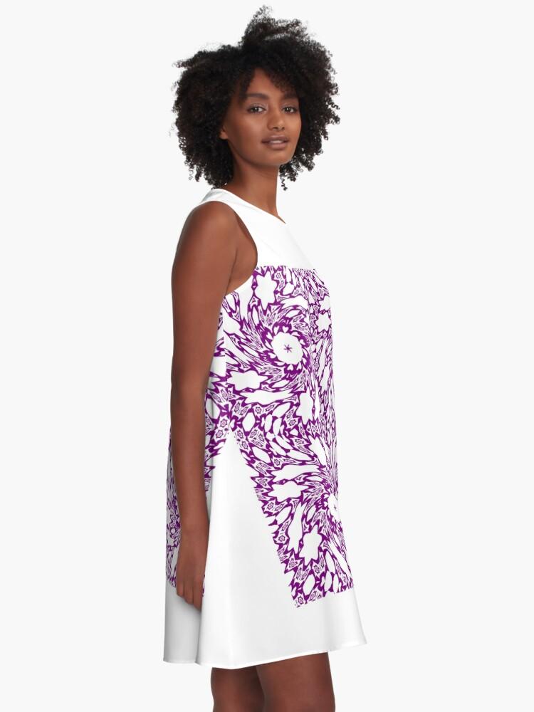 Alternate view of OpArt, Visual Illusion, VisualArt, OpticalArt, #OpticalIllusion, #OpticalIllusionArt, #OpticalArtIllusion, #PsyhodelicArt A-Line Dress
