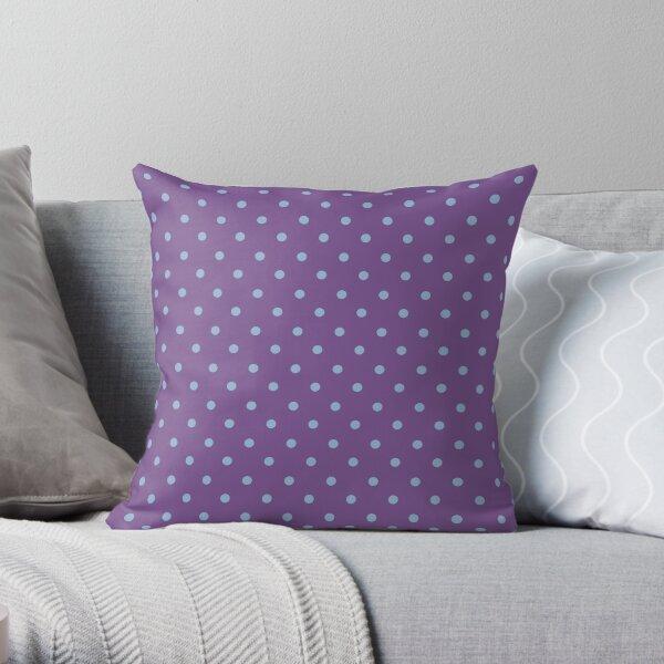 Polka dots royal lilac and blue bell Throw Pillow