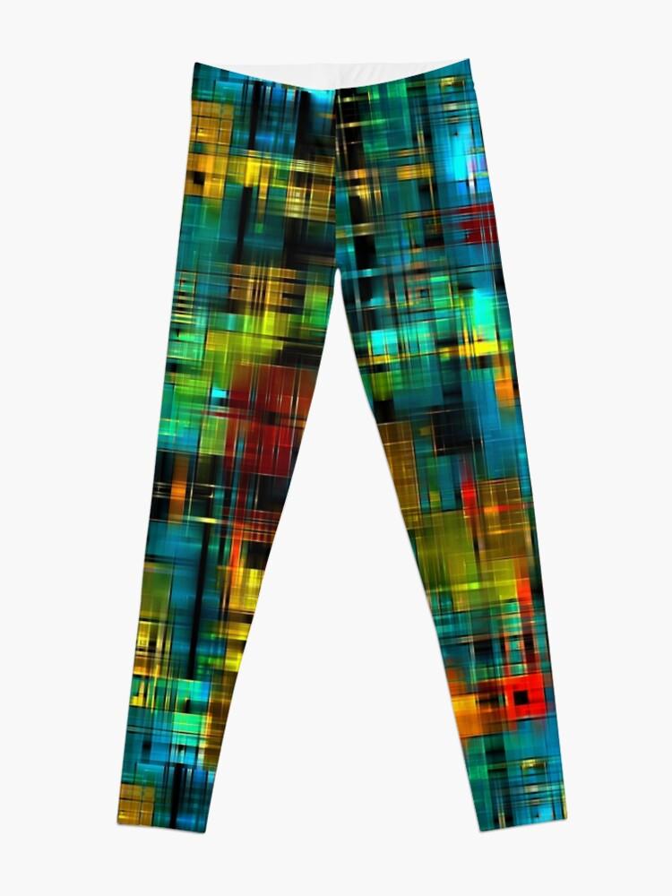 Alternate view of Art splash brush strokes paint abstract seamless pattern print background Leggings