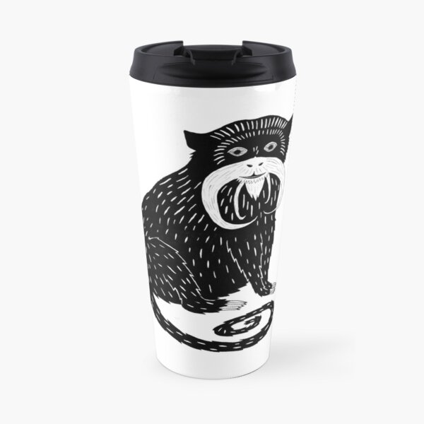 Emperor Tamarin (ink illustrations of weird animals that are real) Travel Mug