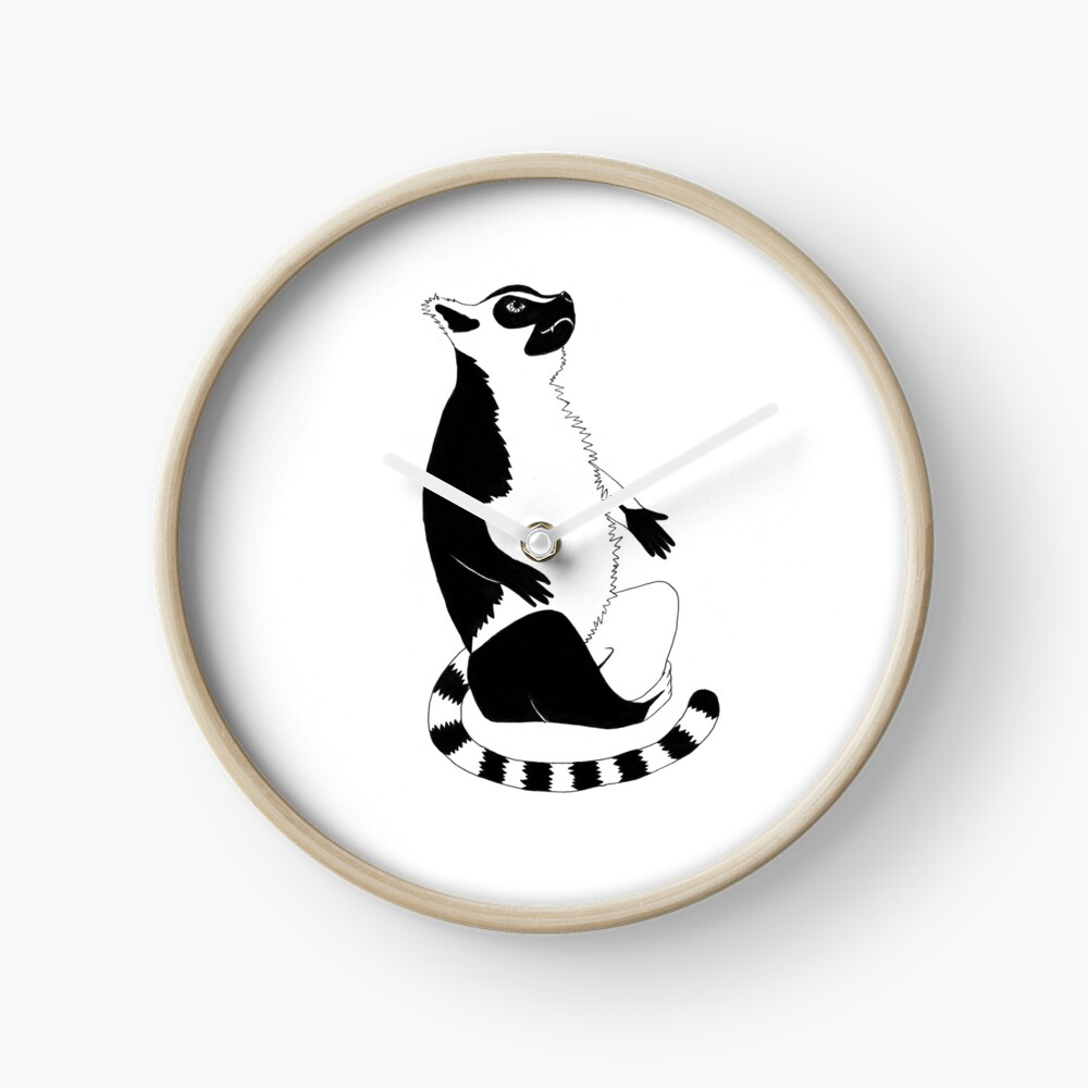 Ring-tailed Lemur (ink illustrations of weird animals that are real) Clock