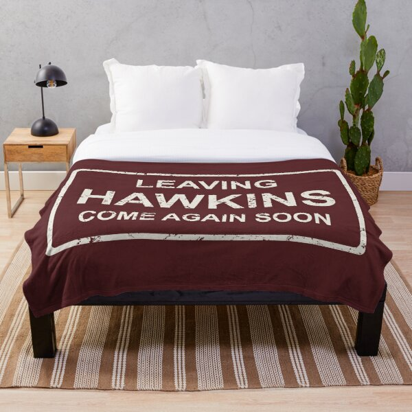TV series inspired collection | Stranger things | LEAVING HAWKINS, COME AGAIN SOON | Dark red Throw Blanket