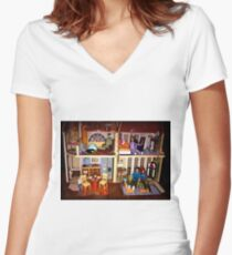 DOLLS IN DOLL HOUSE PICTURE and OR CARD,KIDS TRAVELS MUGS,DOLLS DOLL HOUSE DECORATIVE PILLOW AND OR TOTE BAG Women's Fitted V-Neck T-Shirt