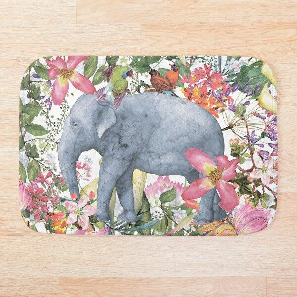 Elephant in Flower Jungle Bath Mat