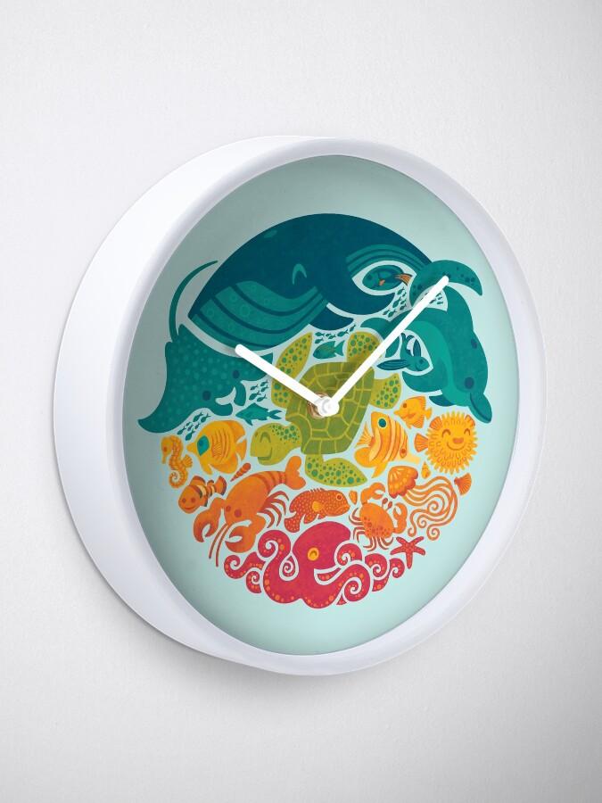 Alternate view of Aquatic Rainbow (light blue) Clock