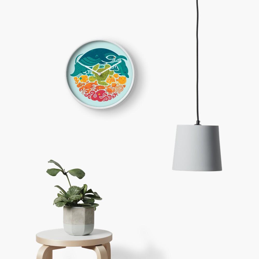 Aquatic Rainbow (light blue) Clock