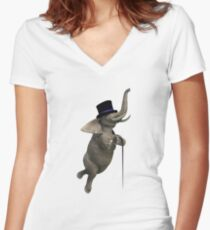 Tap Dancing Elephant Women's Fitted V-Neck T-Shirt