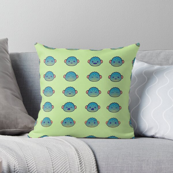 The Many Faces of a Pufferfish Throw Pillow