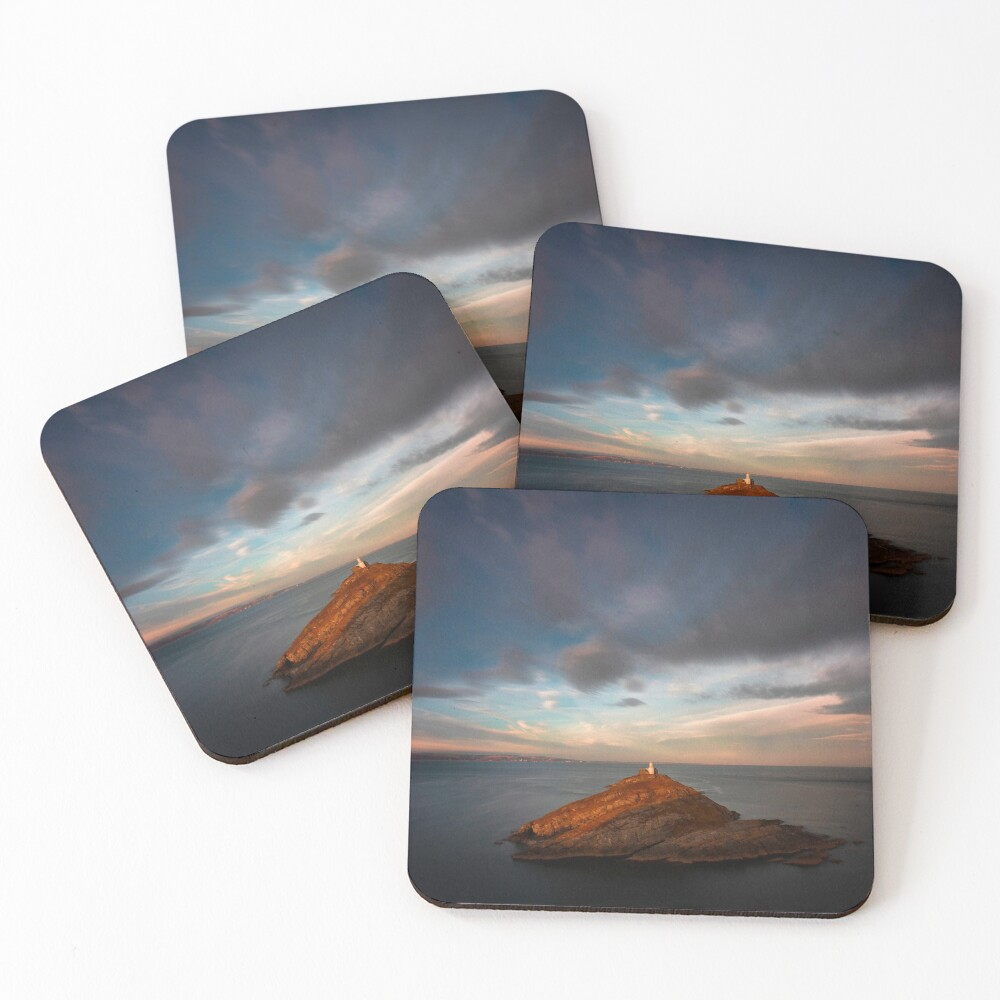 Sunlight on Mumbles Lighthouse Coasters (Set of 4)