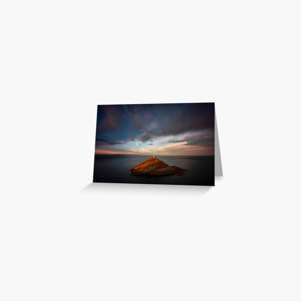 Sunlight on Mumbles Lighthouse Greeting Card