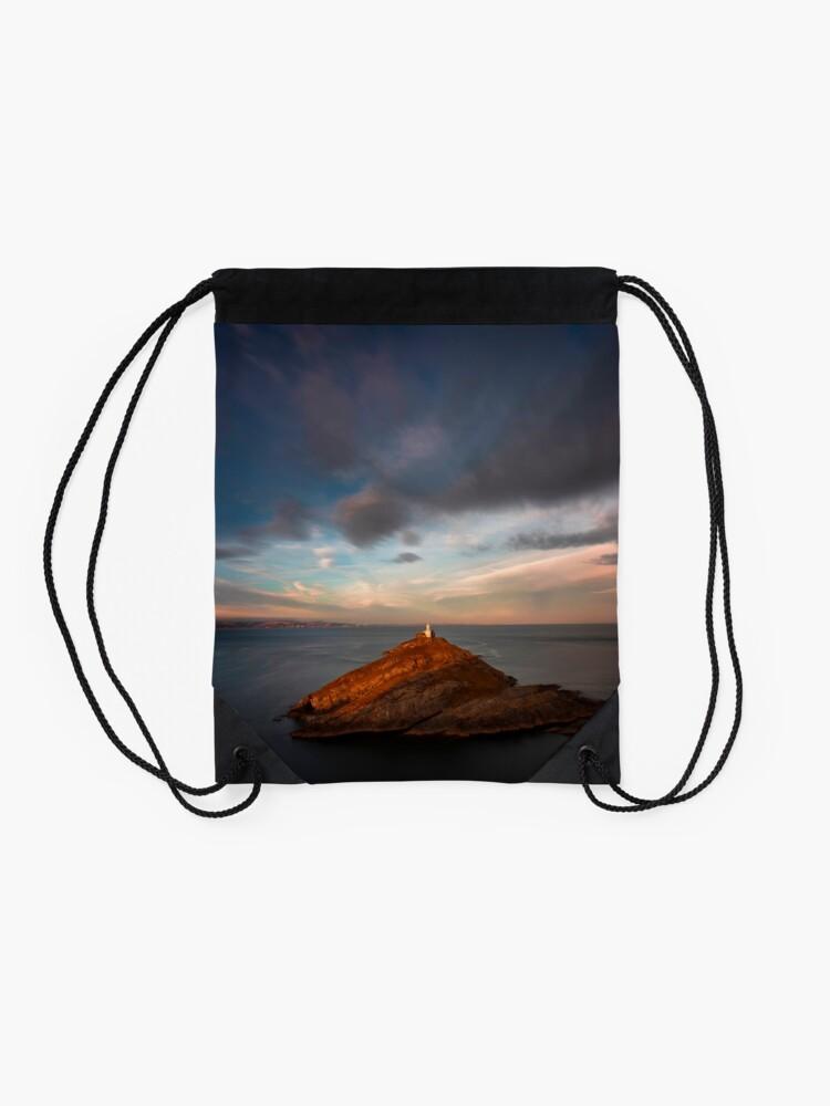Alternate view of Sunlight on Mumbles Lighthouse Drawstring Bag