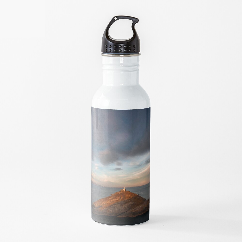 Sunlight on Mumbles Lighthouse Water Bottle