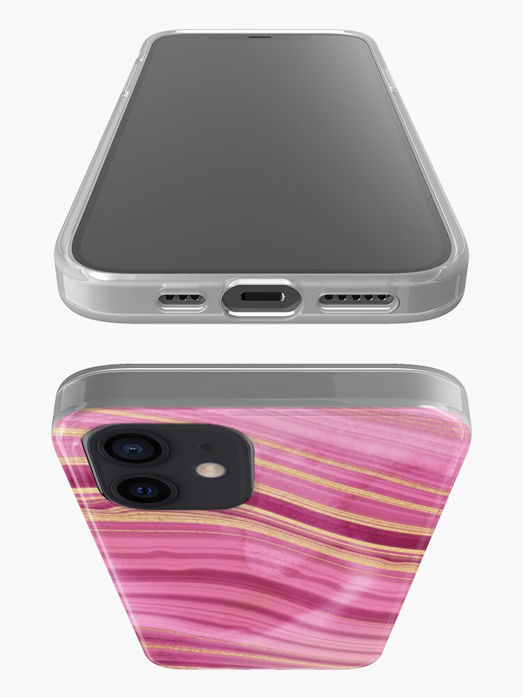 Alternate view of Pink Wavy Agate with Gold Stripes iPhone Case & Cover