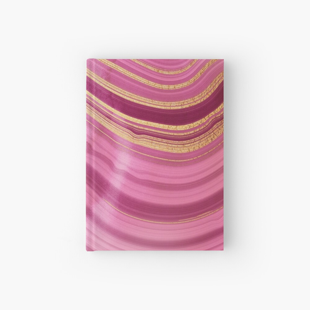 Pink Wavy Agate with Gold Stripes Hardcover Journal