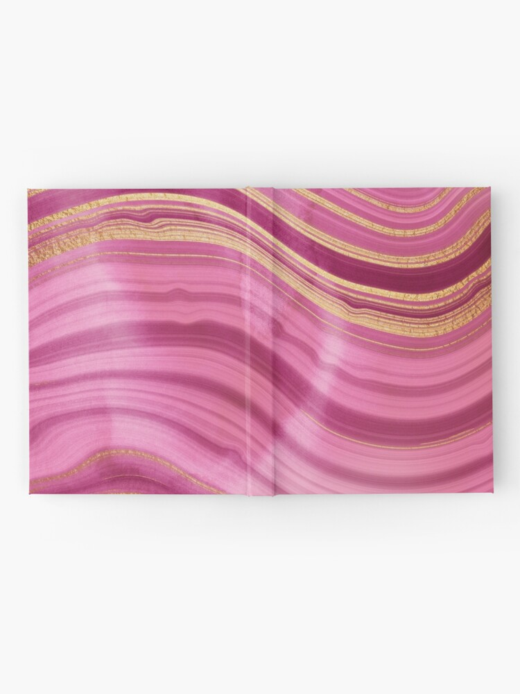 Alternate view of Pink Wavy Agate with Gold Stripes Hardcover Journal